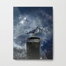 One Legged Seagull in a Snowstorm with Stars in His Eyes Metal Print