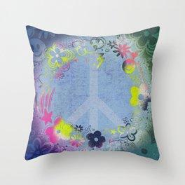Doodle Doo Peace Wreath Throw Pillow