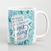 fitzgerald Mugs featuring Zelda Fitzgerald – Blue on White by Cat Coquillette
