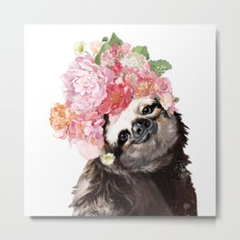 Sloth with Flowers Crown in White Metal Print