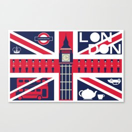 Vintage Union Jack UK Flag with London Decoration Canvas Print