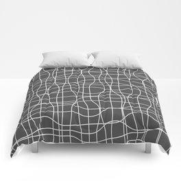 Crosshatch, white lines on dark gray Comforters