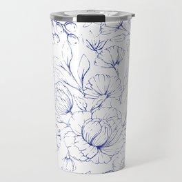 Modern hand drawn navy blue white elegant floral pattern Travel Mug