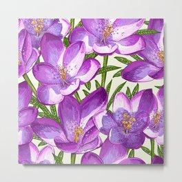 Purple Floral Pattern Metal Print