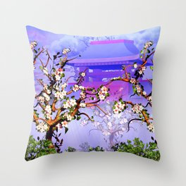 Cherry Blossom tree in front of Temple Throw Pillow