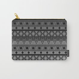 black and white geometric striped pattern Carry-All Pouch