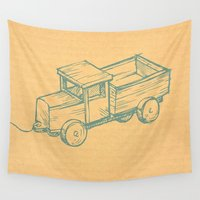 truck Wall Tapestries featuring Wooden Truck by Mr and Mrs Quirynen