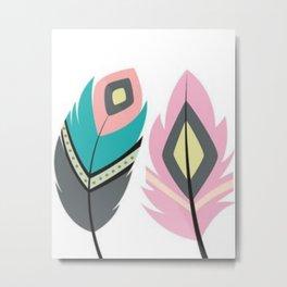 2 Feathers Metal Print