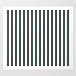 PPG Night Watch Pewter Green & White Stripes, Wide Vertical Line Pattern Art Print