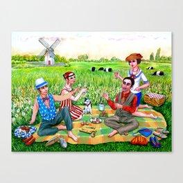 1920s Rhode Island. Jamestown, RI painting. Flapper art. Midsummer luncheon. Canvas Print
