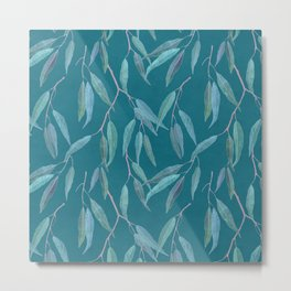 Eucalyptus leaves on teal blue Metal Print