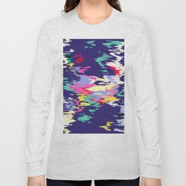 Colorful paint on a blue background Long Sleeve T-shirt