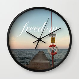 Freedom (with words) Wall Clock