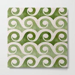 Vintage Wave Woodblock  - Green Pattern Metal Print
