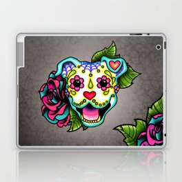 Smiling Pit Bull in White - Day of the Dead Pitbull Sugar Skull Laptop & iPad Skin