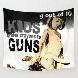 KIDS prefer crayons - black version Wall Tapestry