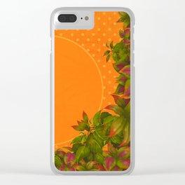 """Plants & Orange Polka Dots"" Clear iPhone Case"