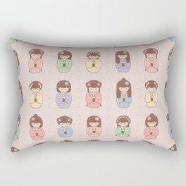Kokeshi doll seamless vector pattern Rectangular Pillow