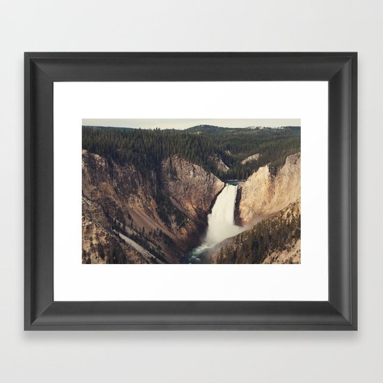 Yellowstone Canyon Waterfall Framed Art Print