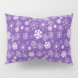 Snowflake Snowstorm With Purple Background Pillow Sham