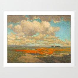 1911 Granville Redmond - A Field of California Poppies Art Print
