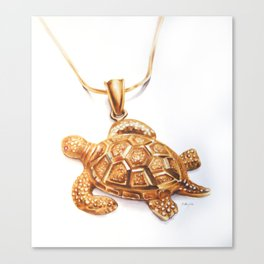 Golden Turtle Necklace  Canvas Print