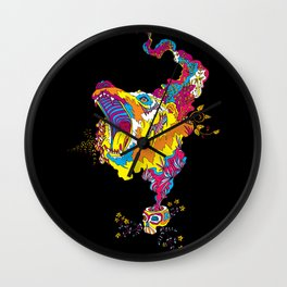 Psychedelic Bear Roar Wall Clock