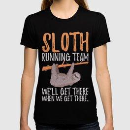 Funny Cute Sloth Running Team Animal Lover Sleepy Design T-shirt