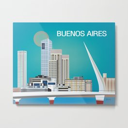 Buenos Aires, Argentina - Skyline Illustration by Loose Petals Metal Print