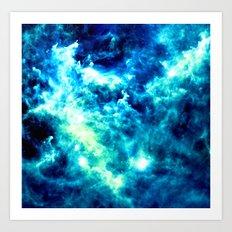 stormy nebula clouds turquoise blue Art Print