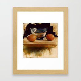 Eggs and Glass Framed Art Print