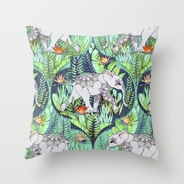 Little Elephant on a Jungle Adventure - faded vintage version Throw Pillow