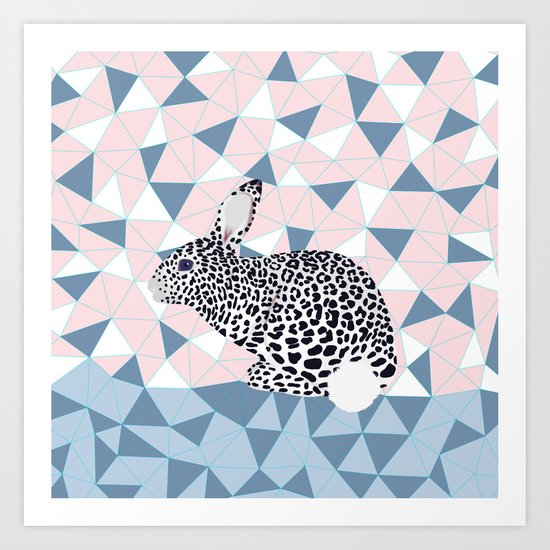 Cute Rabbit Leopard Pattern Design Art Print