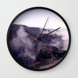 Mountain view in de clouds Wall Clock
