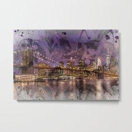Modern Art BROOKLYN BRIDGE Sunset Metal Print