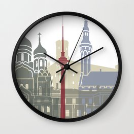 Tallinn skyline poster Wall Clock