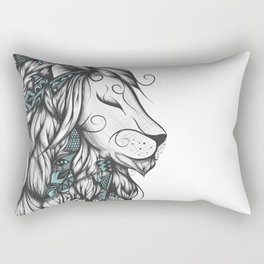 Poetic Lion Turquoise Rectangular Pillow