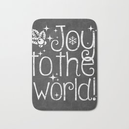 Joy to the world chalkboard christmas lettering Bath Mat