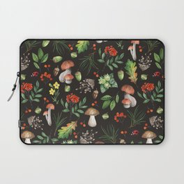Watercolor Forest Mushrooms, Leaves, Flowers Laptop Sleeve