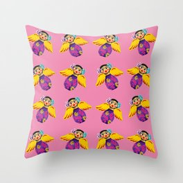 Mexican Angels Hot Pink Throw Pillow