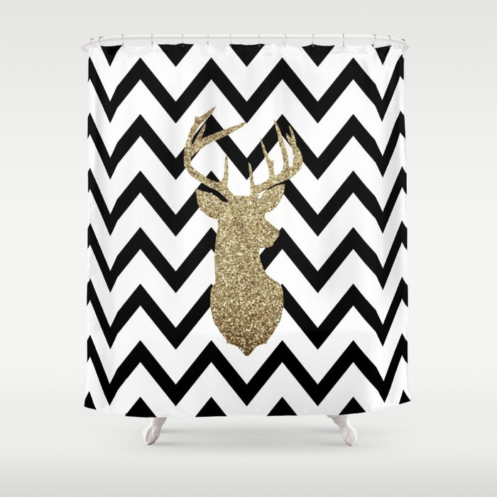 Glitter Deer Silhouette with Chevron Shower Curtain