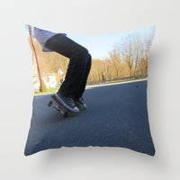 skateboard Throw Pillows featuring Skateboard by Mechanical Kayla