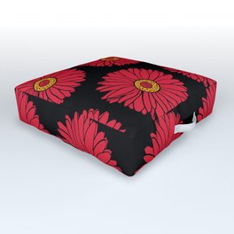 Red Gerbera Daisy Floral Print Pattern Outdoor Floor Cushion