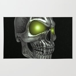 Skull with glowing green eyes Rug