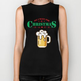 All I Want For Christmas Is Beer Lover Xmas Biker Tank