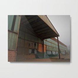 When the Fog Comes - rusty old factory in heavy fog photo Metal Print