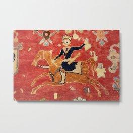 17th Century Isfahan Persian Animal Rug Print Metal Print
