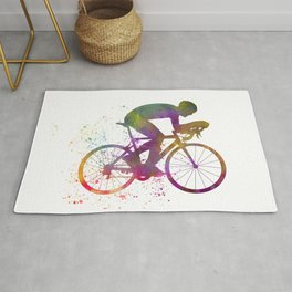 Winning Male Cyclist In Watercolor 06 Rug