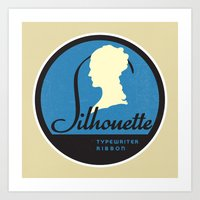 silhouette Art Prints featuring Silhouette by One Little Bird Studio