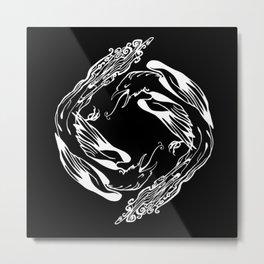 Magpie Magic Pattern Inverted Metal Print